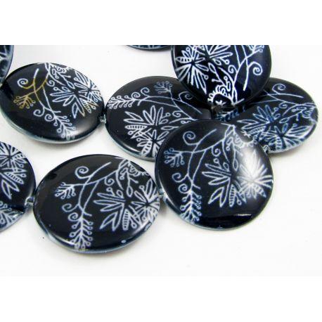 Perlų masės karoliukai, mėlynos spalvos su piešiniu, monetos formos 12 mm