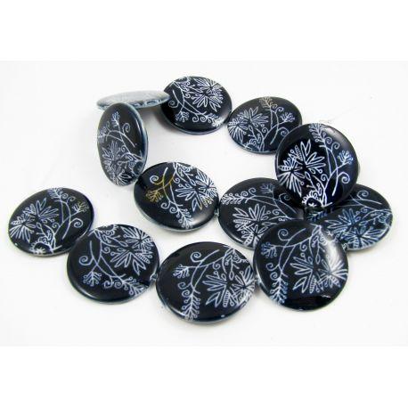 Perlų masės karoliukų gija randarbiams, papuošalams, suvenyrams, tamsiai mėlynos spalvos su piešiniu, monetos formos, 20 mm