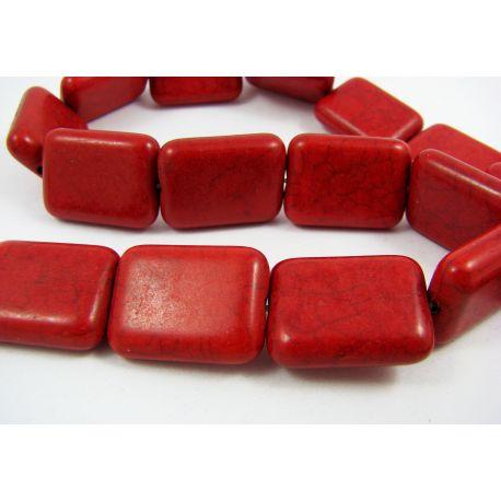 Sintetinio turkio karoliukai, raudonos spalvos, stačiakampio formos, dydis 20x15x5 mm