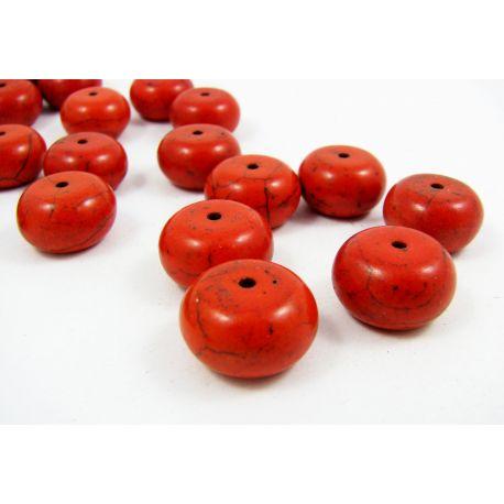 Sintetinio turkio karoliukai, raudonai oranžinės spalvos, rondelės formos, dydis 16x11 mm