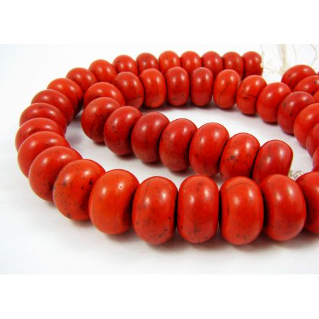 Sintetinio turkio karoliukų gija, raudonai oranžinės spalvos, rondelės formos, dydis 16x11 mm