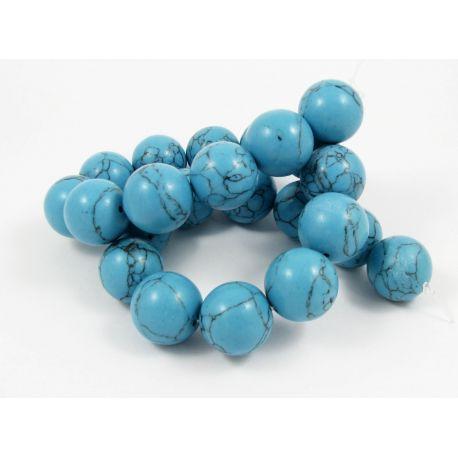 Sintetinio turkio karoliukų gija, mėlynos spalvos su juodomis juostelėmis, apvalios formos, dydis 18 mm