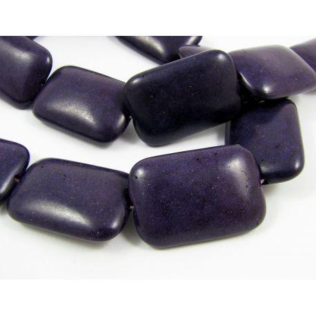 Sintetinio turkio karoliukai, tamsiai violetinės spalvos, stačiakampio formos, dydis 30x20x8 mm