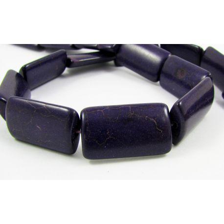Sintetinio turkio karoliukai, tamsiai violetinės spalvos, stačiakampio formos, dydis 24x14 mm
