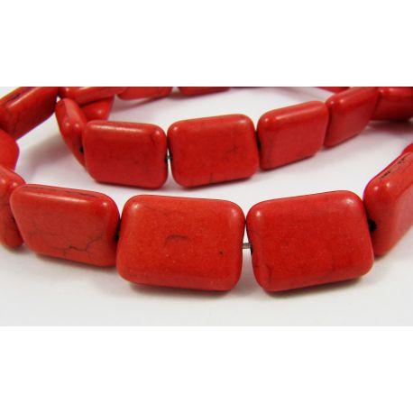 Sintetinio turkio karoliukai, raudonos spalvos, stačiakampio formos, dydis 20x13 mm