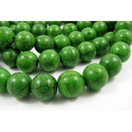 Sintetinio turkio karoliukai, ryškiai žalios spalvos, apvalios formos, dydis 10 mm
