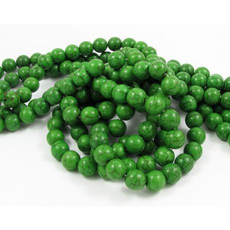 Sintetinio turkio karoliukų gija, ryškiai žalios spalvos, apvalios formos, dydis 10 mm
