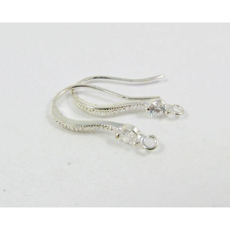 Žalvariniai kabliukai auskarams, sidabro spalvos, 17x10 mm dydžio