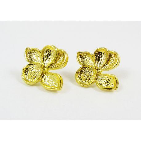 """Kabliukai auskarams """"Gėlytė"""", aukso spalvos, dydis apie 24x22 mm 1 pora"""