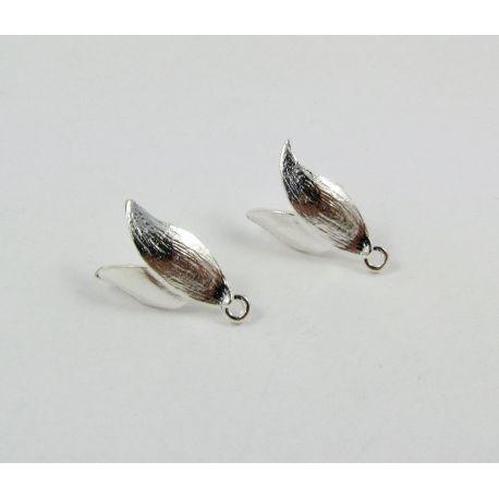Kabliukai skirti auskarų gamybai, sidabro spalvos, su kilpute dydis 14x11 mm 1 pora