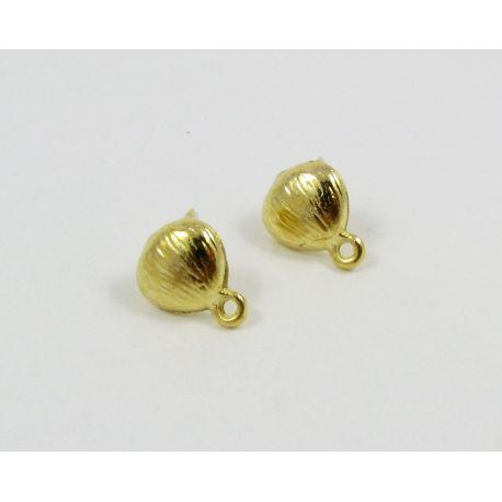 Kabliukai skirti auskarų gamybai, aukso spalvos, su kilpute dydis 10x9 mm 1 pora