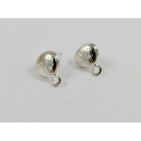 Kabliukai skirti auskarų gamybai, sidabro spalvos, su kilpute dydis 10x9 mm 1 pora