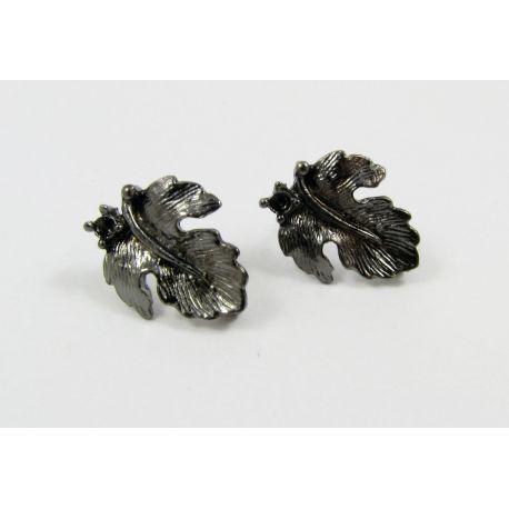 Kabliukai skirti auskarų gamybai, juodos spalvos, su kilpute dydis 16x13 mm 1 pora