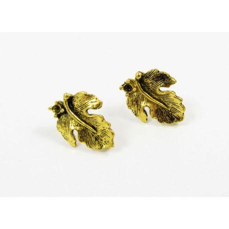 Kabliukai skirti auskarų gamybai, sendintos aukso spalvos, su kilpute dydis 16x13 mm 1 pora