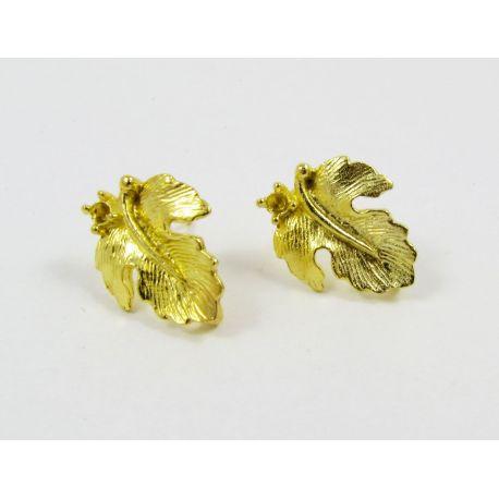 Kabliukai skirti auskarų gamybai, aukso spalvos, su kilpute dydis 16x13 mm 1 pora