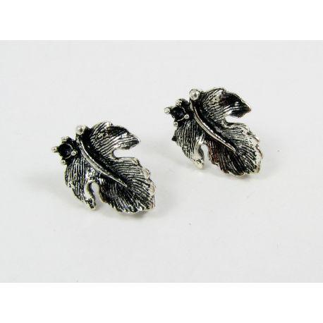 Kabliukai skirti auskarų gamybai, sendintos sidabro spalvos, su kilpute dydis 16x13 mm 1 pora