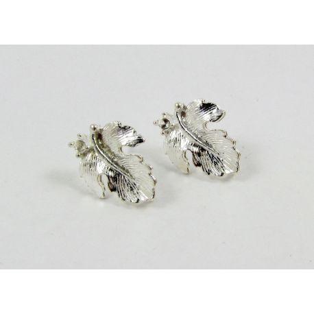 Kabliukai skirti auskarų gamybai, sidabro spalvos, su kilpute dydis 16x13 mm 1 pora