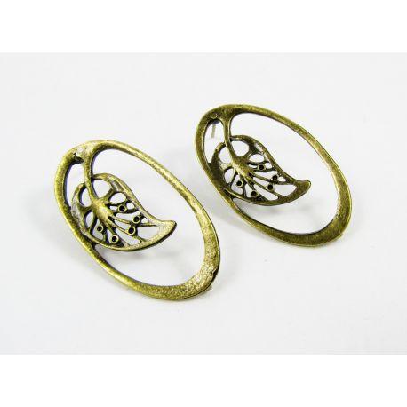 """Kabliukai auskarams """"Lapas"""", sendintos bronzinės spalvos, dydis apie 34x19 mm 1 pora"""