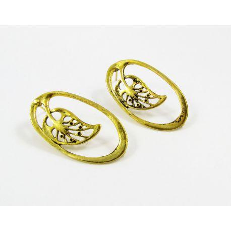 Kabliukai skirti auskarų gamybai, sendintos aukso spalvos, su kilpute dydis 34x19 mm 1 pora