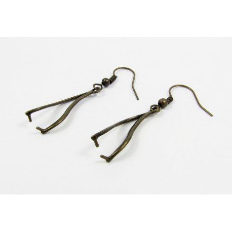 Kabliukai skirti auskarų gamybai, sendintos bronzinės spalvos, dydis 24x9 mm, 1 pora