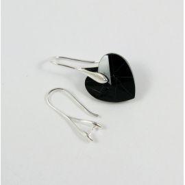 Brass earrings hooks Swarovski crystal 25x9 mm, 2 pairs