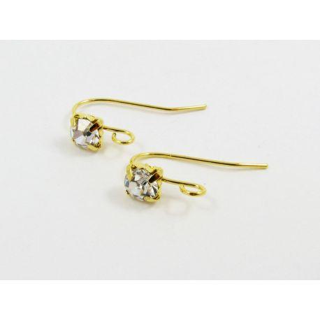 Žalvariniai kabliukai auskarams, aukso spalvos, 18x5 mm dydžio