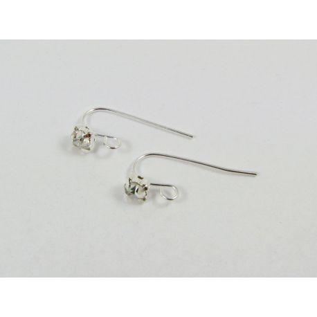 Kabliukai skirti auskarų gamybai, sidabro spalvos, su akute, dydis 18x5 mm, 1 pora