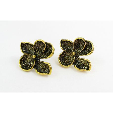 Kabliukai skirti auskarų gamybai, sendintos aukso spalvos, dydis 24x22x3 mm 1 pora
