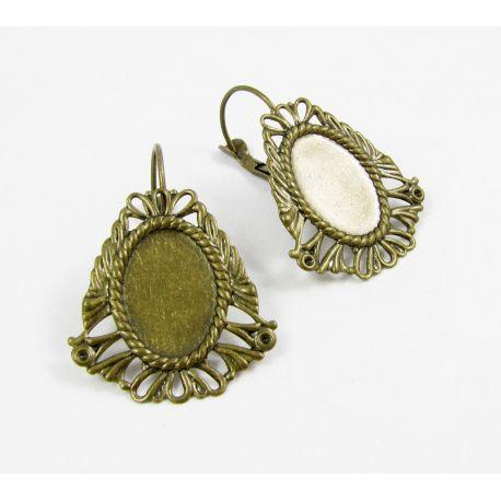 Kabliukai skirti auskarų gamybai, rėmelis kabošonui, sendintos bronzinės spalvos, dydis 26x24 mm 1 pora