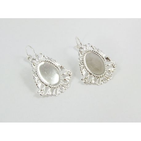 Kabliukai skirti auskarų gamybai, rėmelis kabošonui, sidabro spalvos, dydis 26x24 mm 1 pora