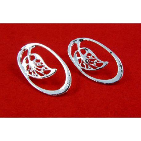 Kabliukai skirti auskarų gamybai,sidabro spalvos, su kilpute dydis 34x19 mm 1 pora