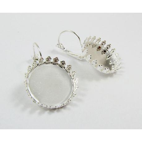 Kabliukai skirti auskarų gamybai, rėmelis kabošonui, sidabro spalvos, dydis 18x5 mm, 1 pora