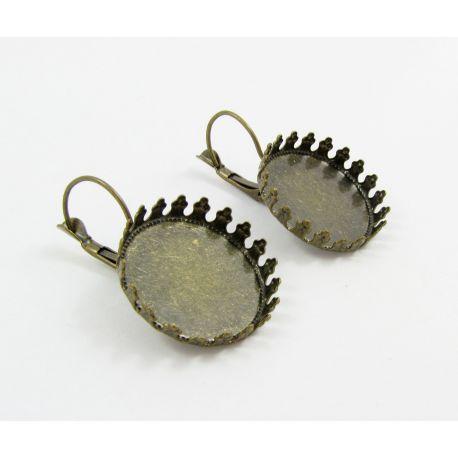 Kabliukai skirti auskarų gamybai, rėmelis kabošonui, sendintos bronzinės spalvos, dydis 18x5 mm, 1 pora