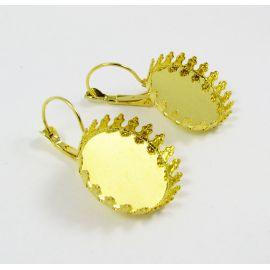 Kabliukai skirti auskarų gamybai, rėmelis kabošonui, aukso spalvos, dydis 33x22 mm, 1 pora