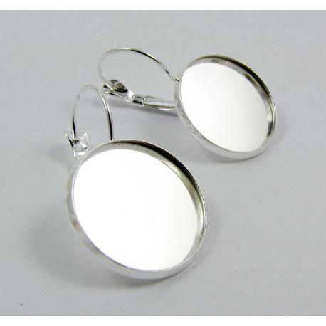 Kabliukai skirti auskarų gamybai, rėmelis kabošonui, sidabro spalvos, dydis 20 mm, 1 pora