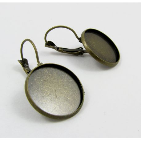 Kabliukai skirti auskarų gamybai, rėmelis kabošonui, sendintos bronzinės spalvos, dydis 20 mm, 1 pora