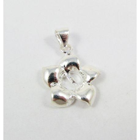 Žalvarinis pakabukas pusiau gręžtam karoliukui, pasidabruotas, sidabro spalvos, 19x16 mm, 1 vnt.