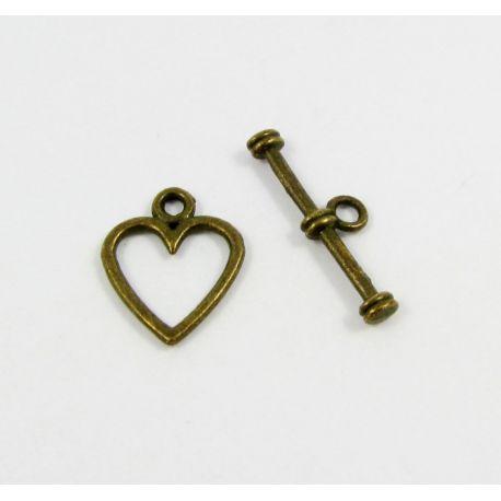 Vėrinio užsegimas - širdelė, send. bronzinės spalvos, 14x11 mm 5 rink.