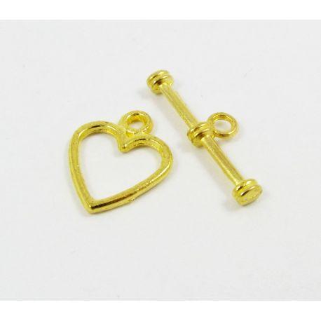 Užsegimas su lazdele skirtas papuošalų gamybai aukso spalvos 14x11 mm