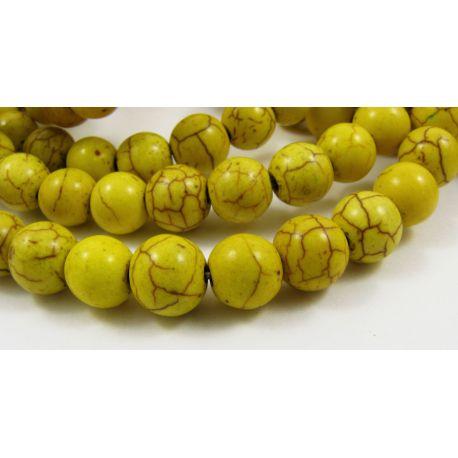Sintetinio turkio karoliukai, žalsvai geltonos spalvos, apvalios formos, dydis 8 mm