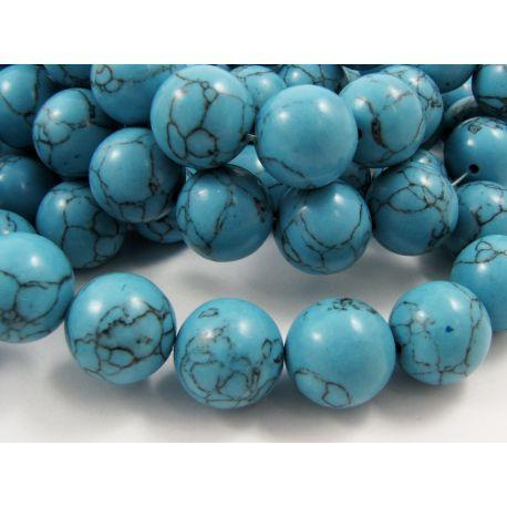 Sintetinio turkio karoliukai, mėlynos spalvos su juodomis juostelėmis, apvalios formos, dydis 16 mm
