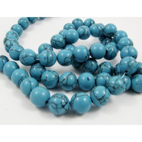 Sintetinio turkio karoliukų gija, mėlynos spalvos su juodomis juostelėmis, apvalios formos, dydis 12 mm