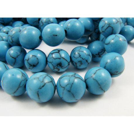 Sintetinio turkio karoliukai, mėlynos spalvos, apvalios formos, dydis 10 mm