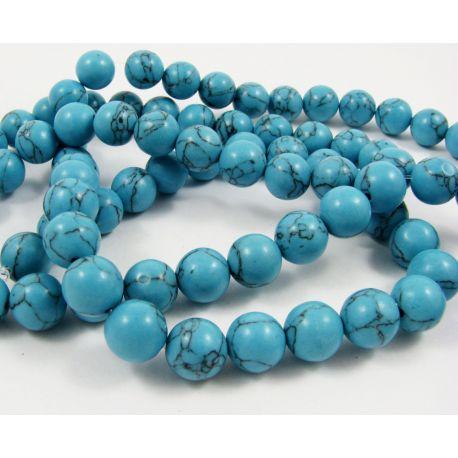 Sintetinio turkio karoliukų gija, mėlynos spalvos su juodomis juostelėmis, apvalios formos, dydis 10 mm