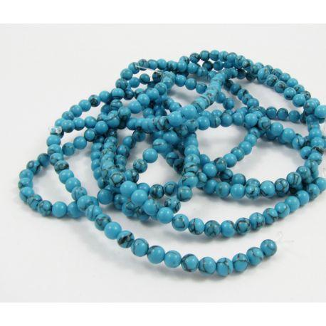 Sintetinio turkio karoliukų gija, mėlynos spalvos su juodomis juostelėmis, apvalios formos, dydis 5 mm