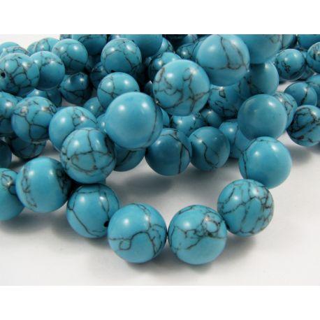 Sintetinio turkio karoliukai, mėlynos spalvos, apvalios formos, dydis 14 mm