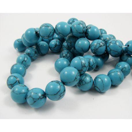 Sintetinio turkio gija, mėlynos spalvos, apvalios formos, dydis 14 mm