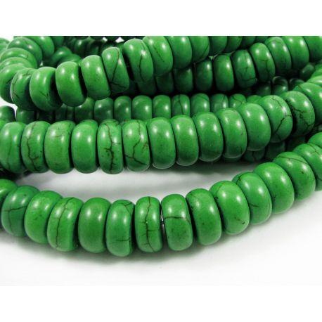 Sintetinio turkio karoliukai, ryškios žalios spalvos, rondelės formos, 10x5 mm