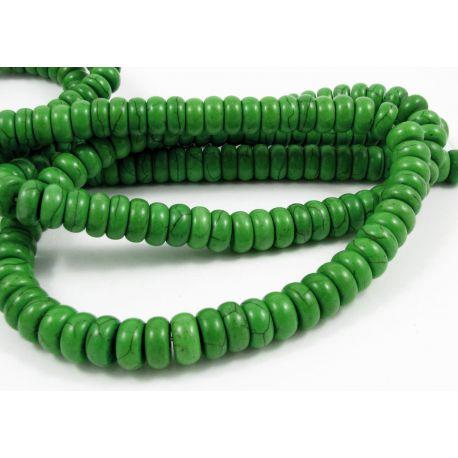 Sintetinio turkio gija, ryškios žalios spalvos, rondelės formos, dydis 10x5 mm