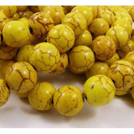 Sintetinio turkio karoliukai, žalsvai geltonos spalvos, apvalios formos, dydis 6 mm